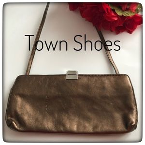 Town Shoes Bronze Shoulder/Clutch Handbag